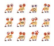 Emoticon svegli divertenti del mostro messi Immagini Stock