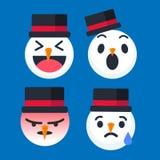 Emoticon sveglio del pupazzo di neve messo per la stagione di Natale Illustratore di vettore Fotografia Stock Libera da Diritti