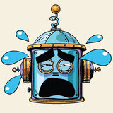 Emoticon tears emoji robot head smiley emotion. Pop art retro style. Human emotions. Icon symbol. Technology and artificial intelligence Royalty Free Stock Photography
