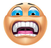 Emoticon terrified Stock Photography