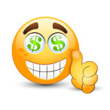 Emoticon with thumb up and dollar sign in the eyes Royalty Free Stock Images