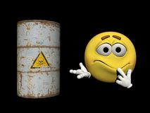 Emoticon and a toxic product - 3d render Stock Images