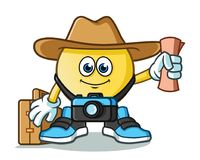 Emoticon traveler with camera, map, hat, and suitcase mascot vector cartoon illustration. This is an original character Stock Images