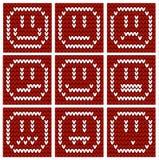 9 emoticon tricottati insoliti Fotografie Stock Libere da Diritti