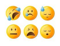 Emoticon tristi messi nel giallo con il facial Immagine Stock Libera da Diritti