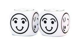 Emoticon twee dobbelt met gelukkige uitdrukkingsschets royalty-vrije stock afbeelding