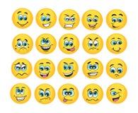 Emoticon vastgestelde vectorillustratie stock illustratie