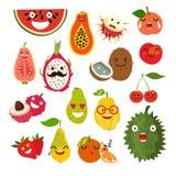 Emoticon vector cartoon fruit Stock Photos
