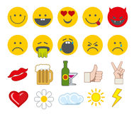 Emoticon vector icons set with thumbs up, chat and heart other icon Royalty Free Stock Photos