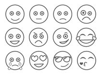 Emoticon vector illustration. Set emoticon face on a white background. Collection emotions Line style. Different emotions collecti Stock Images