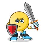 Emoticon warior holding sword and shield mascot vector cartoon illustration. This is an original character Royalty Free Stock Image