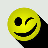 Emoticon winking icon. Icon for your mobile or web application. Vector illustration Royalty Free Stock Photography