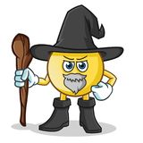 Emoticon witch mascot vector cartoon illustration. This is an original character Stock Photos