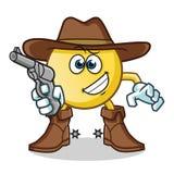 Emoticoncowboy, der Gewehrmaskottchenvektor-Karikaturillustration hält stock abbildung