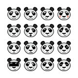 Emoticondjur Panda Set Arkivbilder