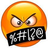 Emoticongesicht mit Symbolen auf Mund Stockbilder
