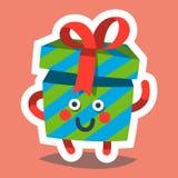 Emoticonikone für guten Rutsch ins Neue Jahr-Thema Glückliches Geschenk Vektor Abbildung