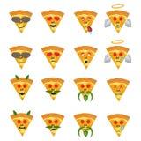 Emoticonillustratie Het gezicht van de Emoticonpizza op een witte achtergrond Verschillende emotiesinzameling Snel voedsel Royalty-vrije Stock Foto's