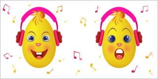 Emoticonkuiken met roze hoofdtelefoons Stock Afbeeldingen