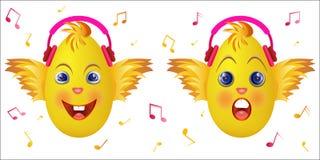 Emoticonkuiken met roze muziekhoofdtelefoons Stock Afbeelding