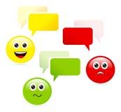 Emoticons με τις λεκτικές φυσαλίδες Στοκ εικόνα με δικαίωμα ελεύθερης χρήσης