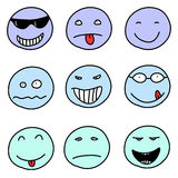 Emoticons. Smiley faces - doodle emoticon expressions. Happy, sad and confused balls. Vector version is easily Stock Images