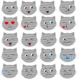 Χαριτωμένο διάνυσμα γατών emoticons Στοκ Εικόνα