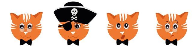 Emoticons ajustados - gatos Vetor de Emoji isolado no fundo branco ilustração royalty free