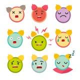 Emoticons alarm clock vector set. Cute funny stickers Royalty Free Stock Image