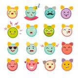 Emoticons alarm clock vector set. Cute funny stickers. Stock Image