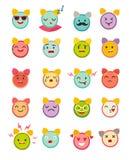 Emoticons alarm clock vector set. Cute funny stickers Royalty Free Stock Photo