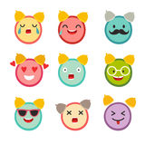 Emoticons alarm clock vector set. Cute funny stickers. Stock Photography