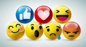 Emoticons amarillos redondos para las reacciones sociales del comentario de la charla de los medios, rasg?n de la cara de la plan ilustración del vector