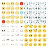 Emoticons Big Set. Flat design big set of one hundred funny colorful and black emoticons in different styles  on white background vector illustration Royalty Free Stock Photo