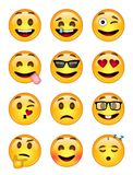 12 emoticons - bloco 1 - EPS - ilustrador Fotografia de Stock