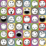 Emoticons. Caricature Emoticons Set on Colorful Background Royalty Free Stock Images