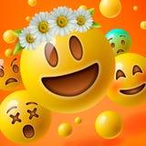 Emoticons con la flor en la cabeza, fondo con el grupo de emoji sonriente Fotos de archivo
