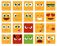 Emoticons cuadrados o iconos sonrientes fijados Imagenes de archivo