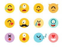 Emoticons cyclops vector set. Monsters caracters, yellow circle illustration. Cute funny cyclops emoji. Emoji big set flat cartoon style. Isolated icons on Stock Photo