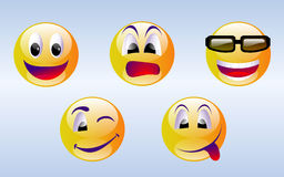 Emoticons da face do smiley imagens de stock royalty free