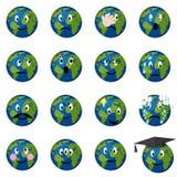 Emoticons da terra do planeta ajustados Fotografia de Stock
