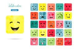 Emoticons de la acuarela fijados libre illustration