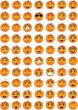 Emoticons de la calabaza de Halloween Imagen de archivo