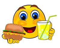 Emoticons de la sonrisa que sostienen la limonada de la hamburguesa y del hielo libre illustration