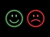 Emoticons de neón de la sonrisa Imagenes de archivo