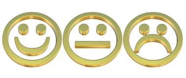 Emoticons de oro Foto de archivo libre de regalías