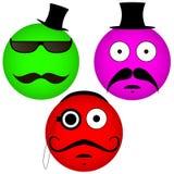 Emoticons del vector con un bigote Imagen de archivo libre de regalías