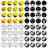 Smiles set. Set of sixteen smileys of different styles and emotions stock illustration