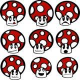 Emoticons do cogumelo Imagens de Stock Royalty Free