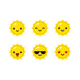 Emoticons do sol dos desenhos animados Imagens de Stock